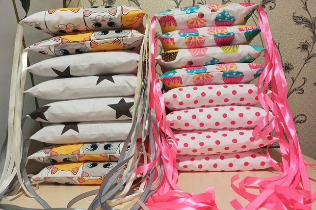 Подушки бортики защита в детскую кроватку