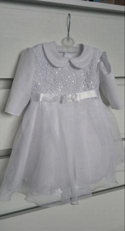 Komplet do chrztu dla dziewczynki, sukieneczka z czapką i bolerko,74cm