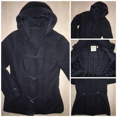 H&M czarny taliowany płaszcz zimowy L 40