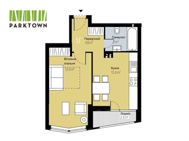 Однокімнатна квартира 38,6 кв.м у новобудові у Гостомелі