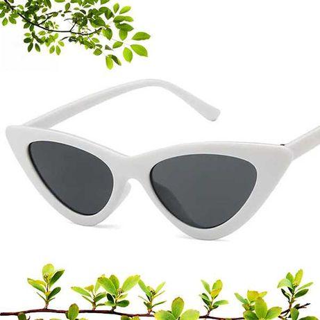Очки солнцезащитные женские кошачий глаз лисички белые UV400