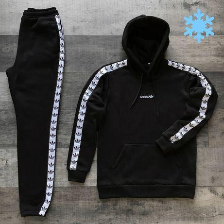 Утепленный спортивный костюм на флисе Adidas на осень-зиму худи+штаны