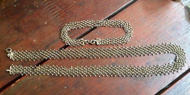 Старинная цепь и браслет из серебра
