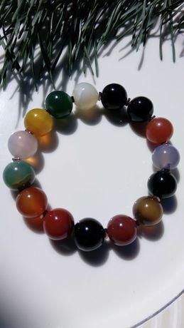 Kolorowe kule agatu - bransoletka na mocnej gumce
