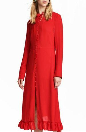 Красное длинное платье рубашка H&M