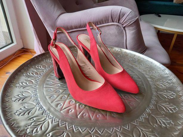 Czółenka szpilki sandałki czerwone roz. 38
