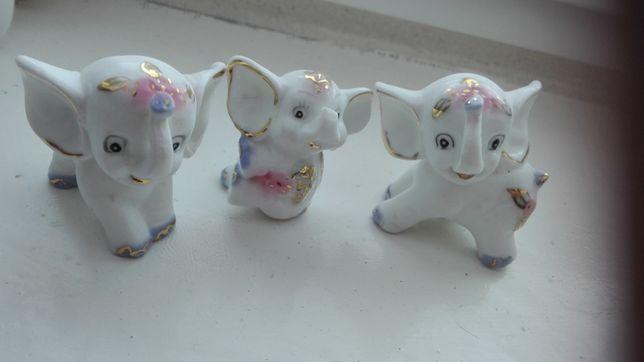 Porcelana słonie słoniki na szczeście figurki 3 szt zestaw porcelanowe