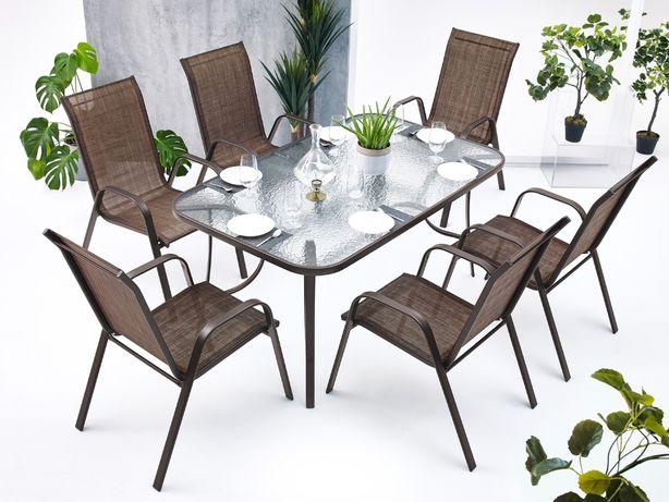 Zestaw komplet Stół + krzesła na taras do ogrodu altany 6 krzeseł