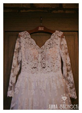 Sprzedam piękną koronkową suknię gratis welon