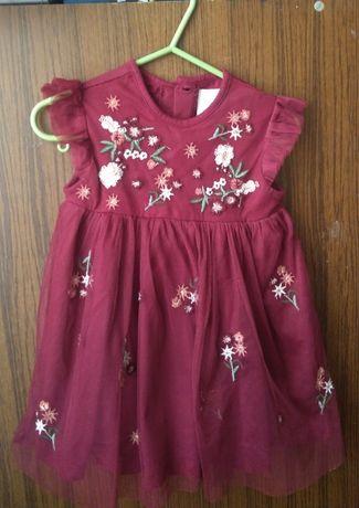 Nowa elegancka bordowa sukienka dla dziewczynki 12-18m/86cm F&F