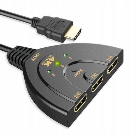 Switch 3x HDMI rozdzielacz FULL HD 4K z przełącznikiem