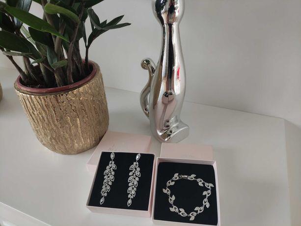 Komplet Bransoletka Kolczyki Biżuteria Ślubna Novia Blanca