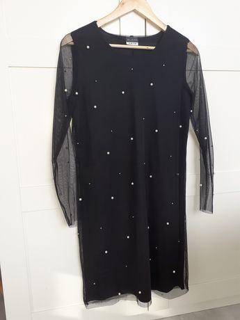 Czarna elegancka sukienka z perelkami. Rozmiar 38