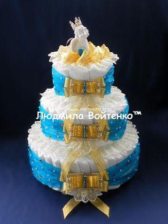 Торт из памперсов (подгузников) ребенку на выписку из роддома