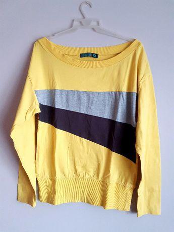 bluza żółta szara XL dresowa bawełniana bluzka na długi rękaw