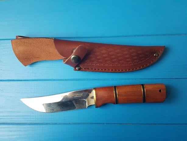 Нож охотничий и рыбацкий, рукоять красное дерево, кожаный чехол
