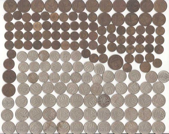 Коллекция монет СССР номиналом 1, 2, 3, 5, 10, 15, 20, 50 коп., 1 руб.