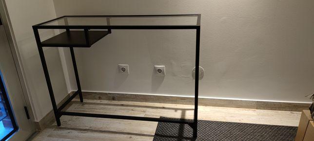 Secretária metal e vidro 100cm x 36cm