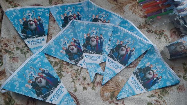 Флажки для дня рождения в стиле Холодное сердце Анна и Эльза 2 штуки