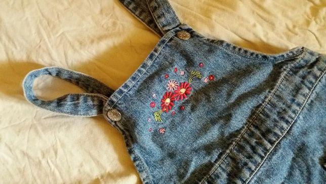 H&M jeansowa spódniczka ogrodniczka r 92 cm