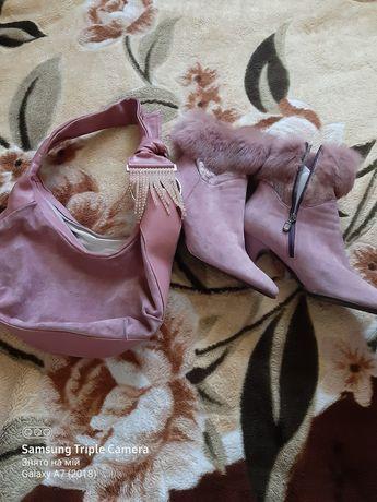 Сумка замша+шкіра Комплект з чобітками.