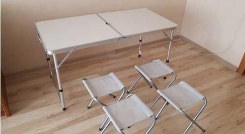 Раскладной стол для пикника туризма и 4 стула для отдыха на природе