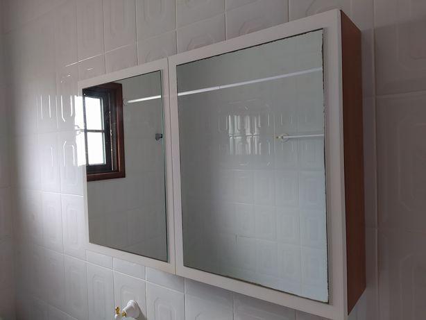 Móvel WC lacado branco/cerejeira