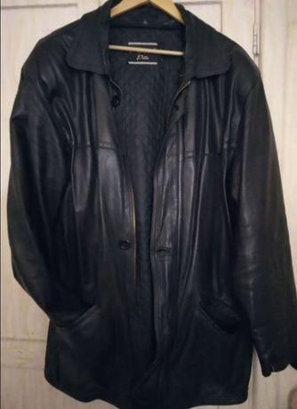 Кожаная мужская куртка Armani большой размер + подкладка теплая