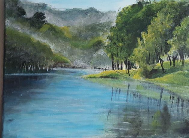 Obraz pejzaż ręcznie malowany akryl 30x40 podobrazie płócienne