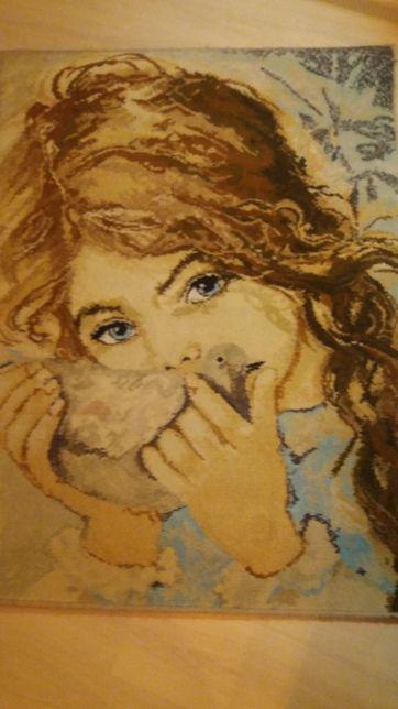 Gobelin dywanowy Dziewczynka z gołębiem Muszyńska-Zamorska