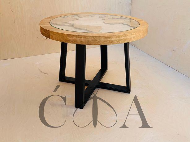 okrągły dębowy frezowany stolik kawowy GLOBUS 60cm