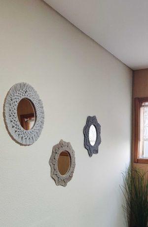Conjunto 3 espelhos macramé