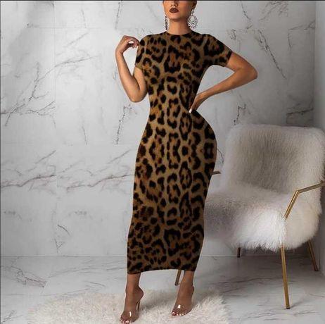 Vestido maxi Leopardo manga curta