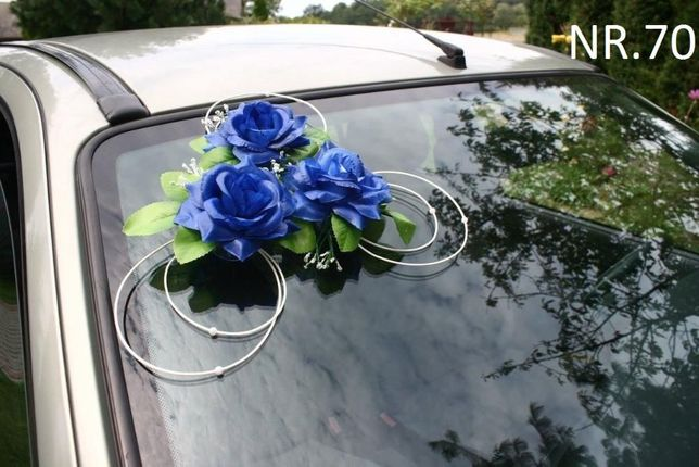 Dekoracja na samochód- kolor chabrowy , kobaltowy itp.