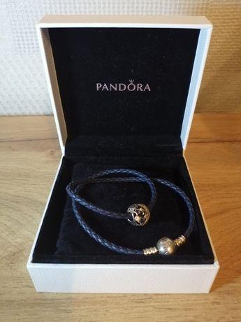 Двойной кожаный браслет Pandora Moments + шарм Оригинал