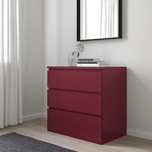 NOWA Komoda MALM, 3 szuflady, ciemnoczerwony 80x78 cm