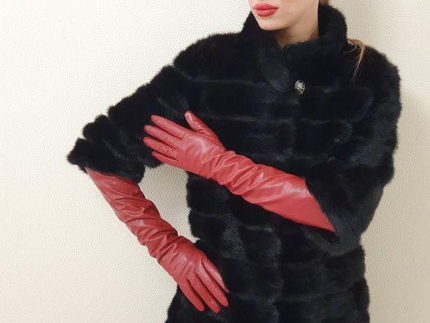 Длинные кожаные красные перчатки с touch  screen