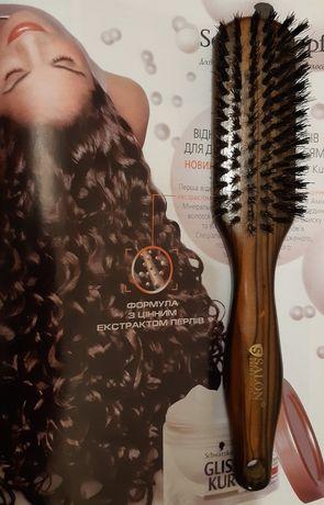 Щетка для волос Salon Professional массажная с натуральной щетиной