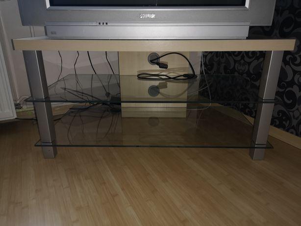 Stolik pod telewizor ze szklanymi półkami