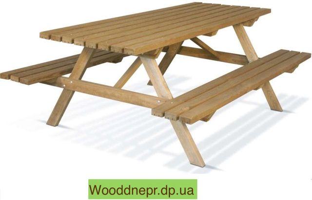 Деревянный Стол лавка для пикника на 8 человек.