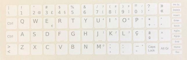 Película Teclado Autocolante Branco Windows PT 13x13 Keyboard Stickers