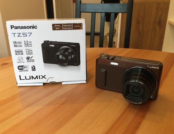 aparat cyfrowy Panasonic Lumix TZ57, cały zestaw, kolor: brązowy
