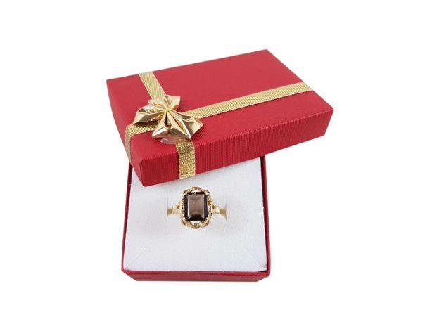 Złoty pierścionek z brązowym kamieniem P585 3,80G R156