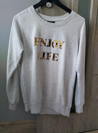 Szara bluza ze złotymi napisami