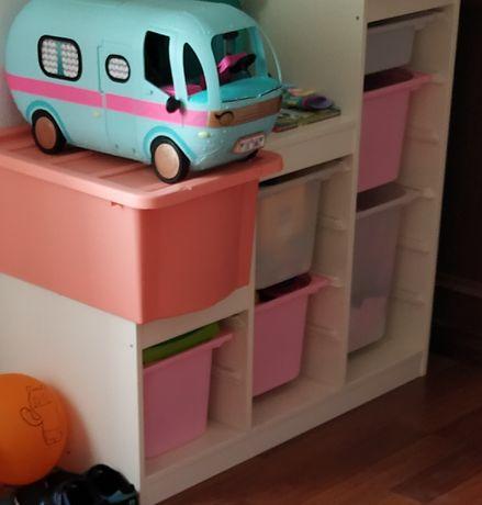 Estante branca para arrumação/quarto criança c/gavetas plástico