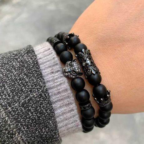 Мужские браслеты из натуральных камней, каменные браслеты черные