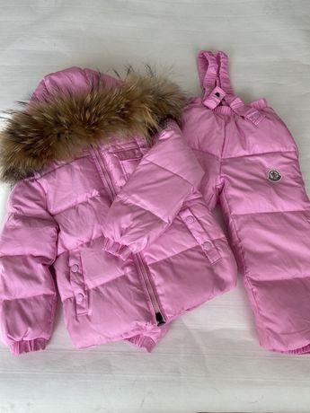 Красивый теплый раздельный зимний комбинезон Moncler Монклер