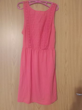 Sukienka malinowa różowa 44 koronkowa