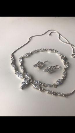 Komplet naszyjnik srebro kolczyki kryształ kolia górski 925 ślubny
