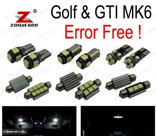 KIT COMPLETO DE 10 LÂMPADAS LED INTERIOR PARA VW GOLF 6 MK6 MKVI GTI 10-14